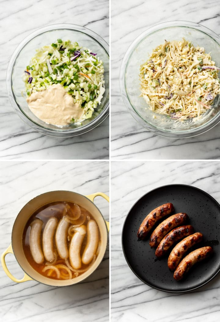 how to make Cajun beer brats process photo collage