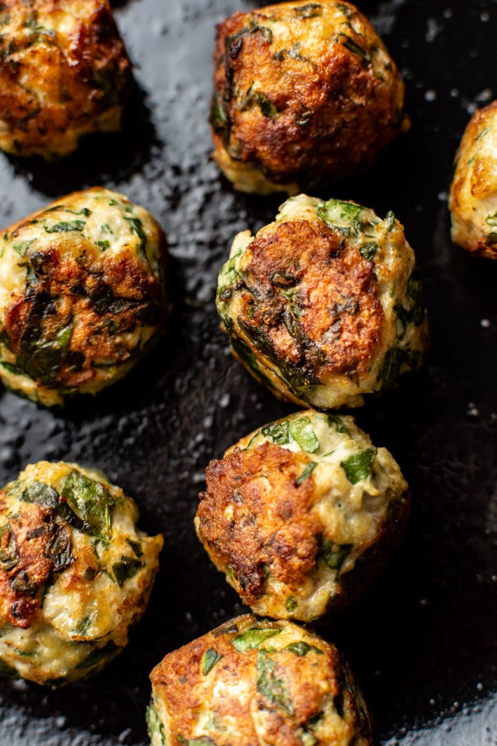 close-up of chicken and spinach meatballs