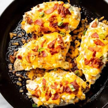 bacon ranch cream cheese chicken in a skillet
