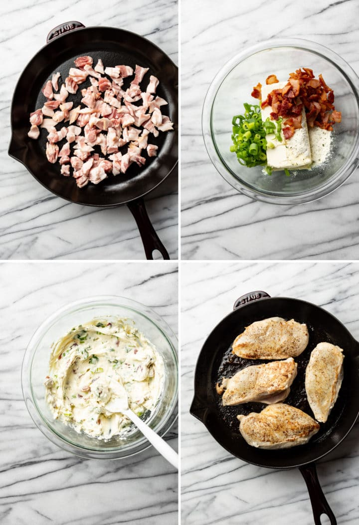 process collage of how to make bacon cream cheese cheddar chicken