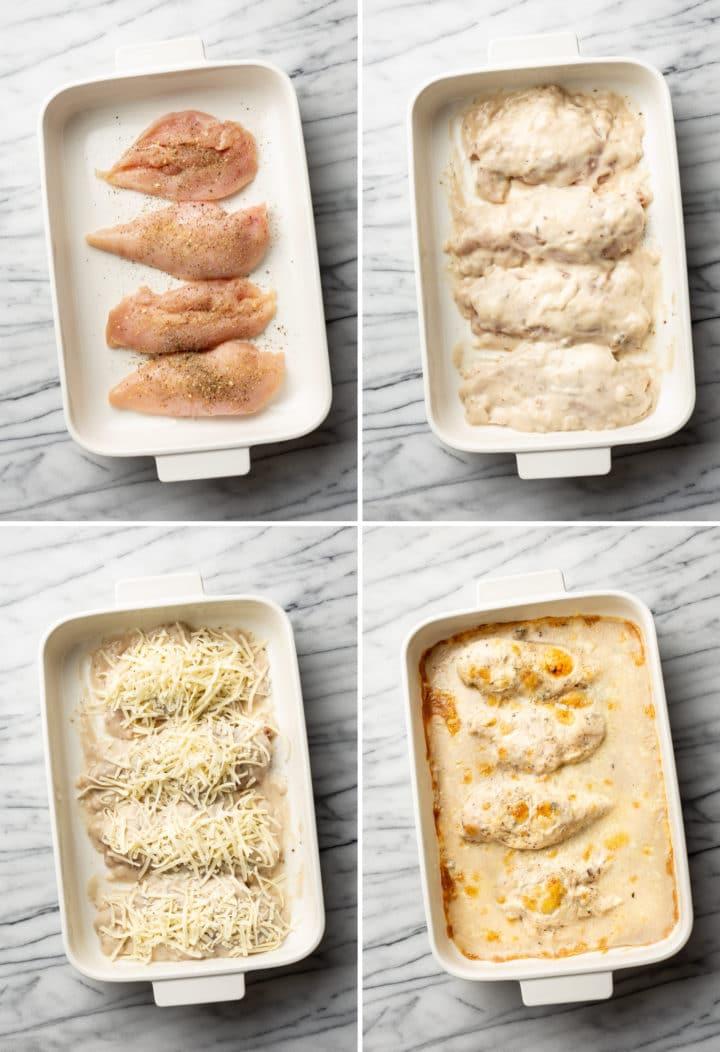 cream of mushroom soup chicken bake process photo collage