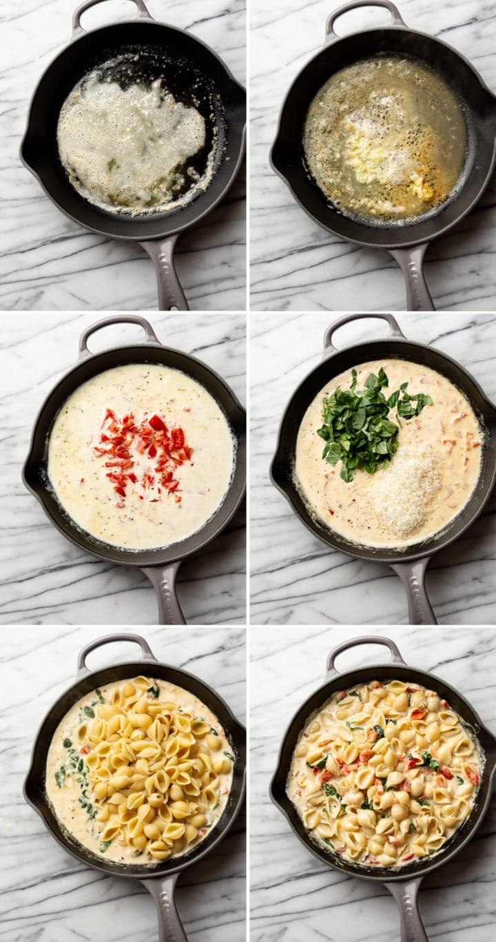 process photo collage of how to make creamy tomato and basil pasta