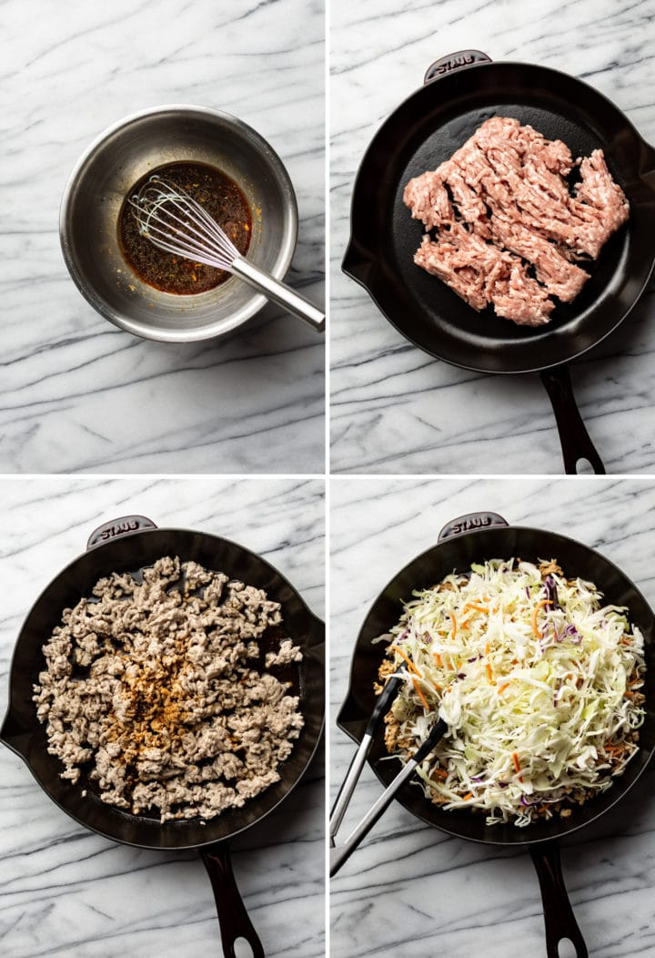egg roll in a bowl process photo collage
