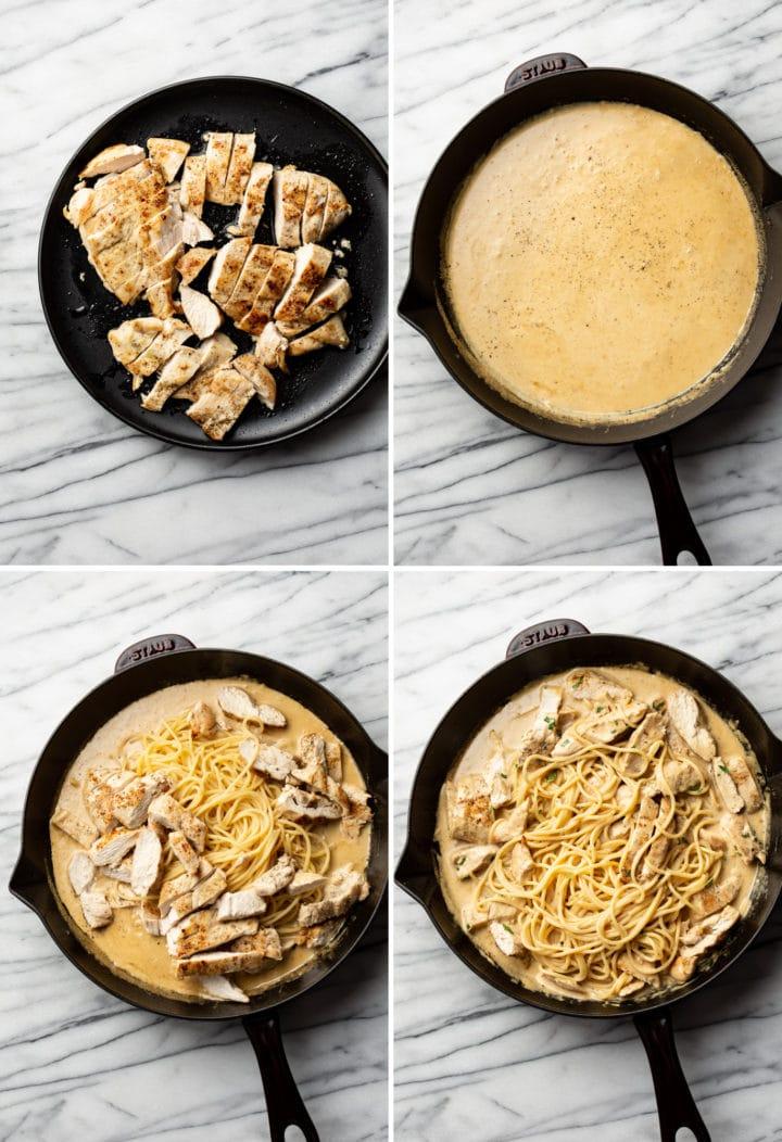 how to make garlic parmesan chicken pasta process photo collage