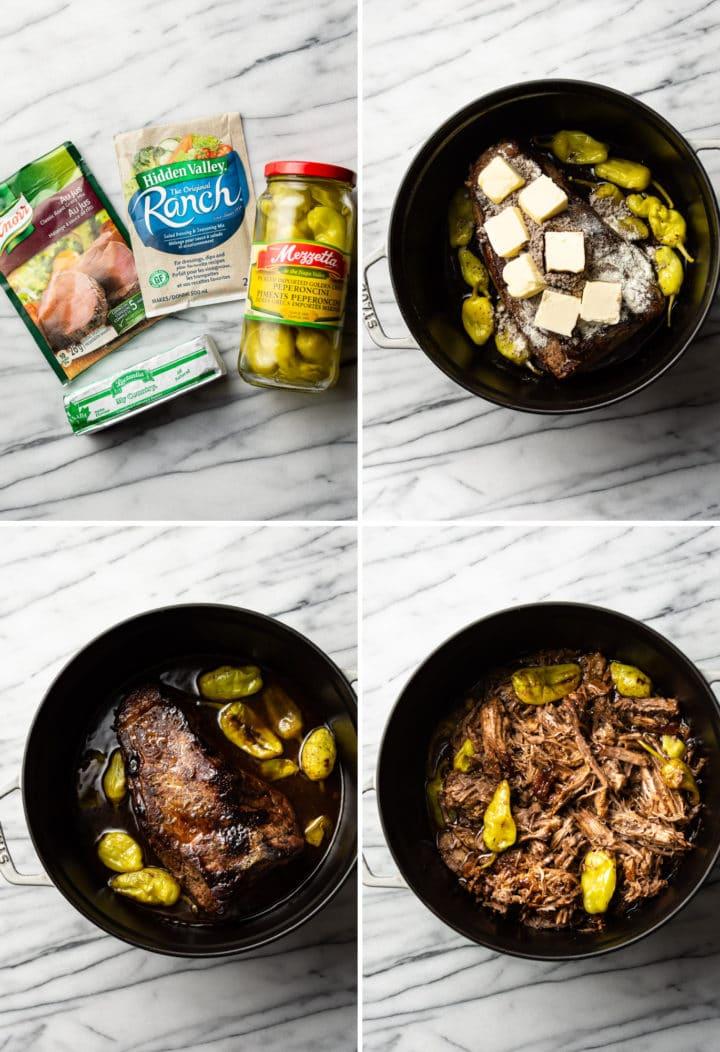 Mississippi pot roast process photo collage
