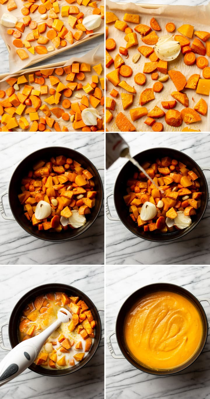 roasted fall vegetable soup step-by-step process photo collage