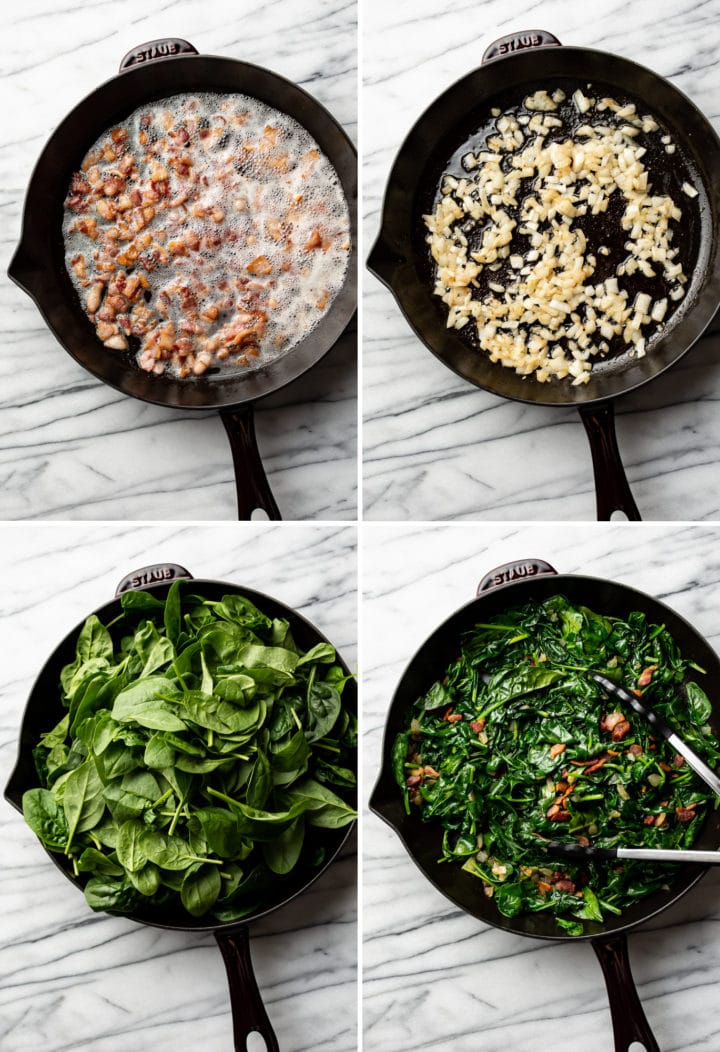 sautéed spinach with bacon process photo collage