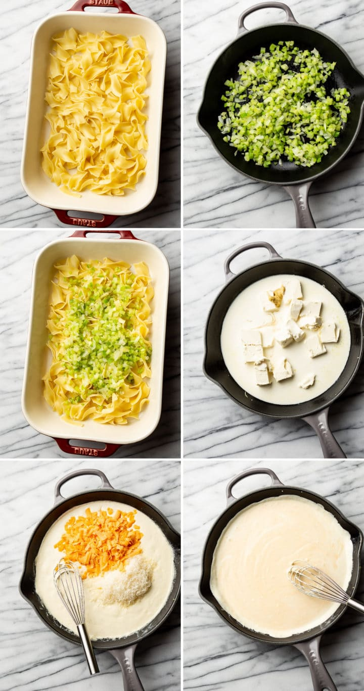 how to make tuna noodle casserole process photo collage