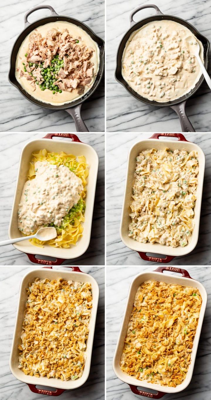 tuna casserole process photo collage