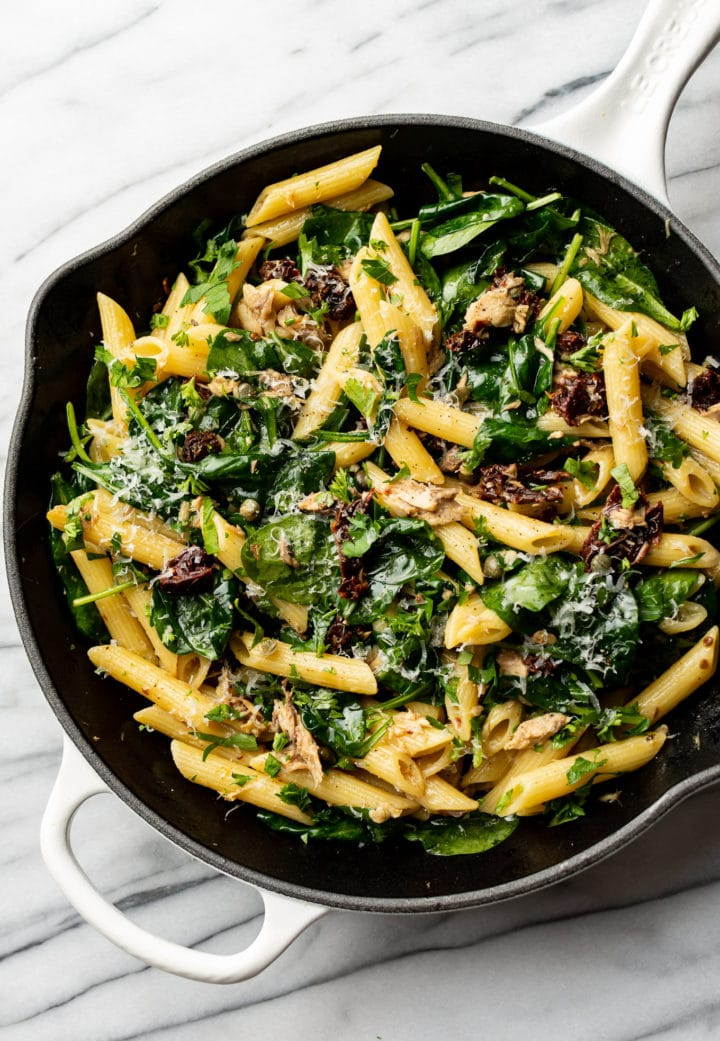canned mackerel pasta in a skillet