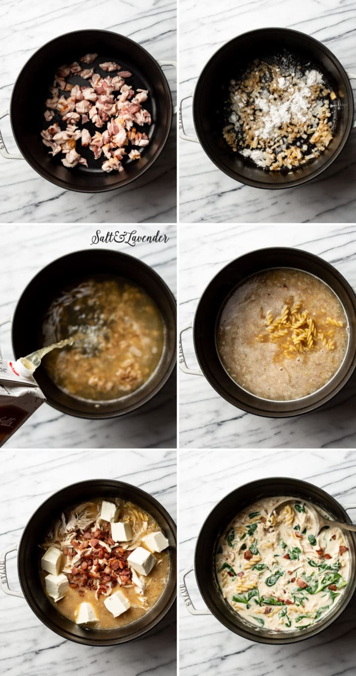 how to make chicken bacon ranch soup step-by-step photo collage