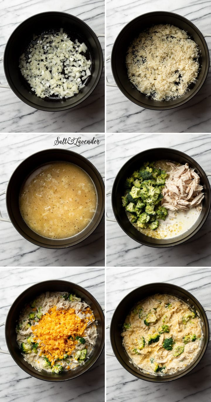 how to make one pot chicken broccoli rice casserole step by step process photos