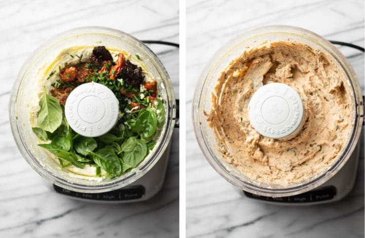 whipped goat cheese dip process photo collage in food processor