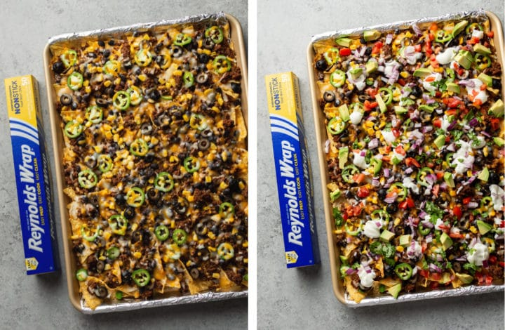 loaded sheet pan nachos process photo collage