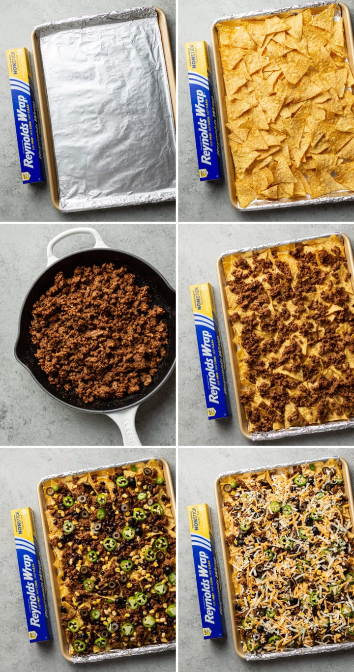 how to make loaded sheet pan nachos process photo collage