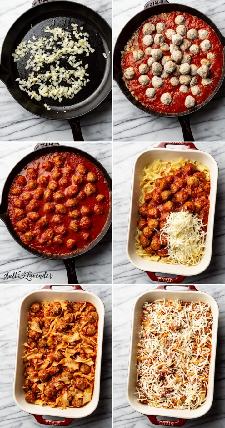 how to make meatball casserole step-by-step photo collage