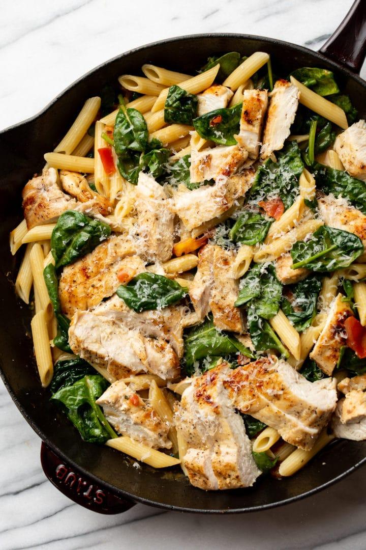 ranch chicken pasta in a skillet