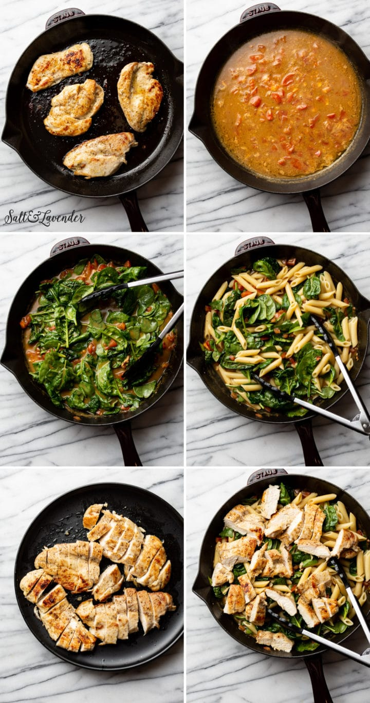 how to make ranch chicken pasta process photo collage