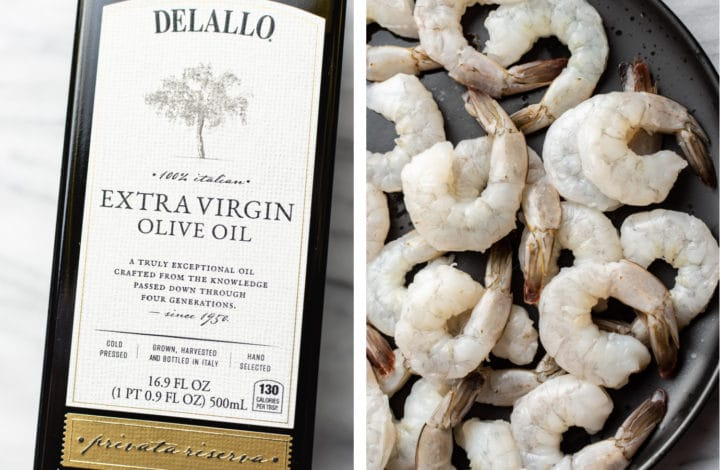 collage with a close-up of DeLallo's Private Reserve Olive Oil and uncooked shrimp