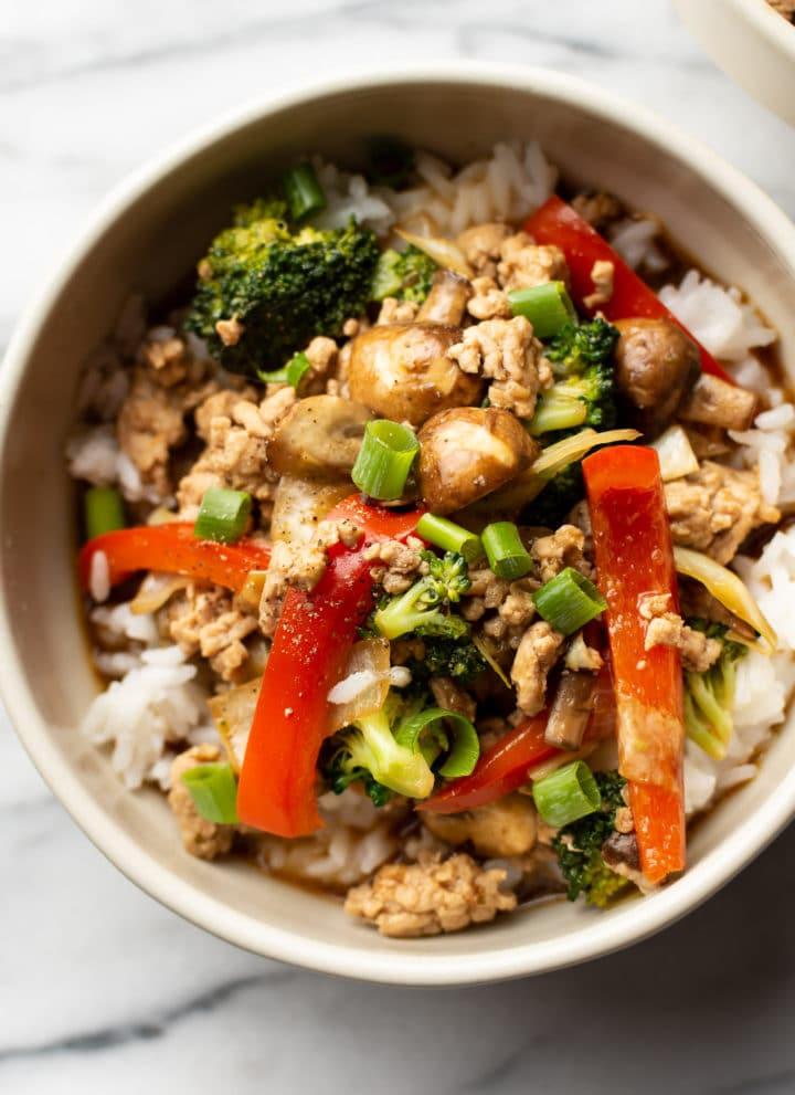 bowl of ground turkey stir fry