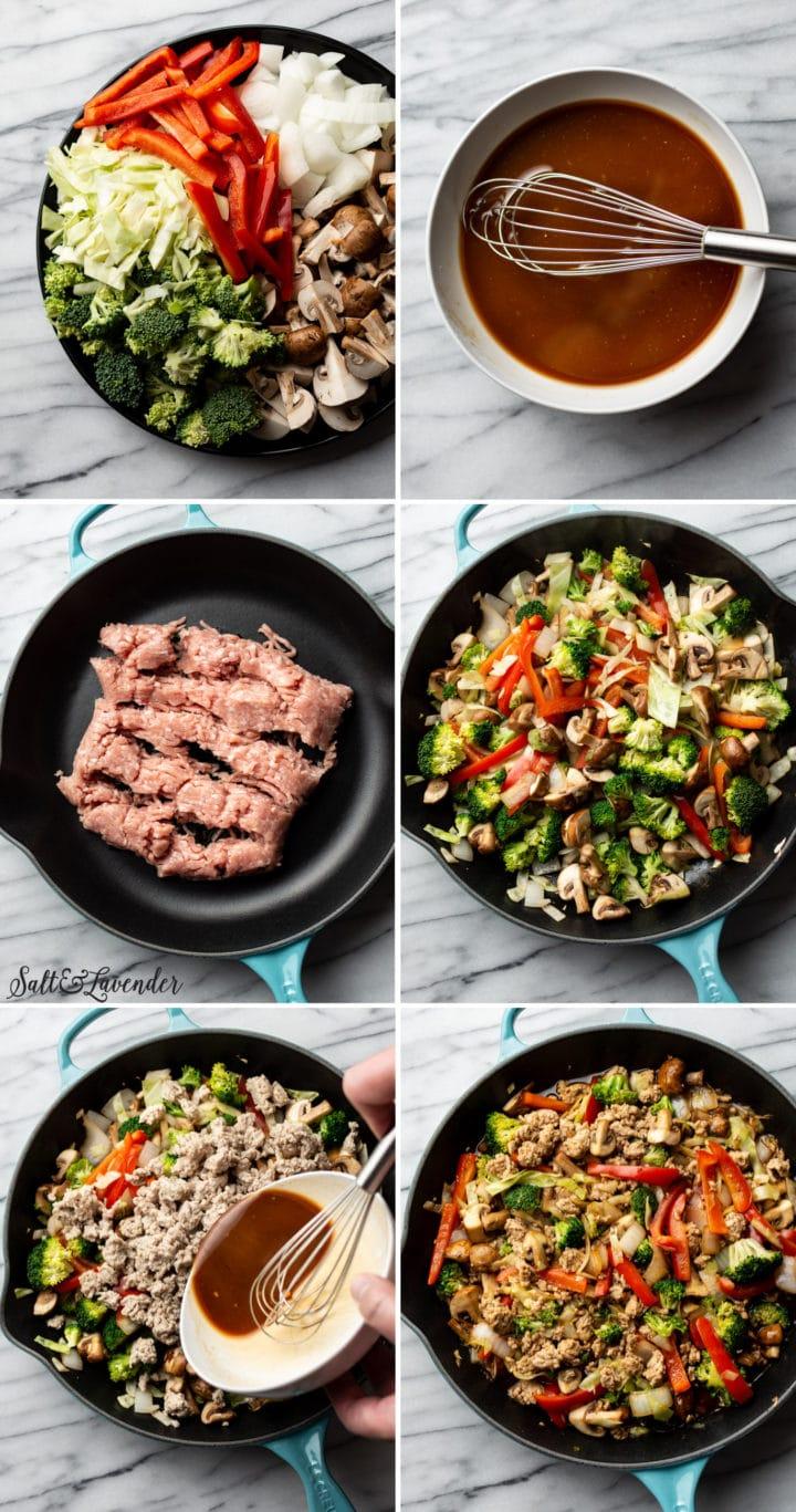 how to make ground turkey stir fry step-by-step process photos collage