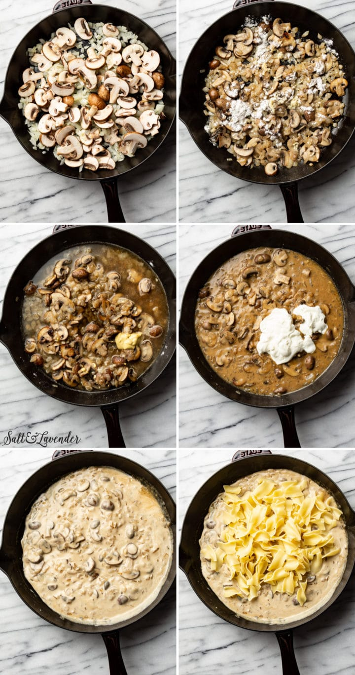 how to make mushroom stroganoff step-by-step photos collage